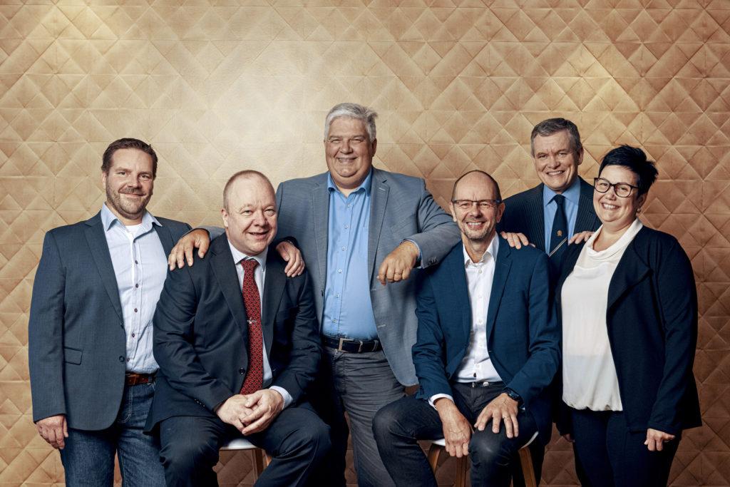 Sinebrychoffin panimomestarit vuonna 2019: Heikki Vuokko (vas), Harry Berg, Bo Ranta, Tapio Kangas-Heiska, Rauno Sillanpää ja Paula Hantula.